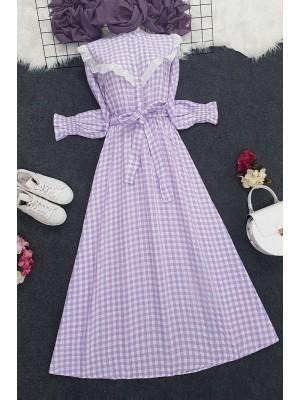 Checkered Long Dress -Lilac