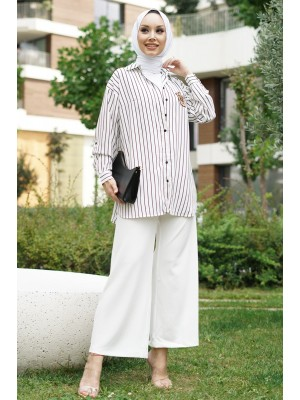 Rigged Detailed Sleeve Cuff Striped Shirt-White