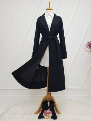 Shawl Collar Lined Belt Long Cachet Coat -Black