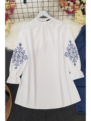 Embroidery Sleeve Printed Tunic -White