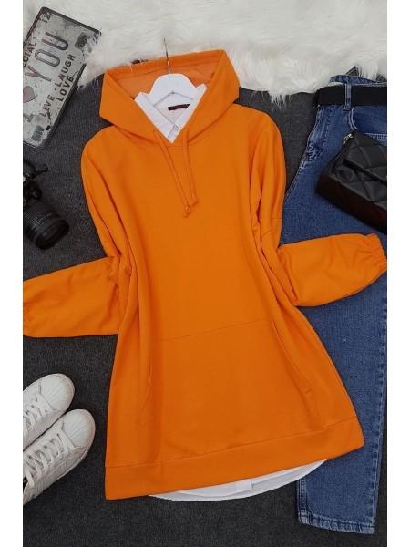 Kanguru Cepli Kapşonlu Düz Sweat   -Orange
