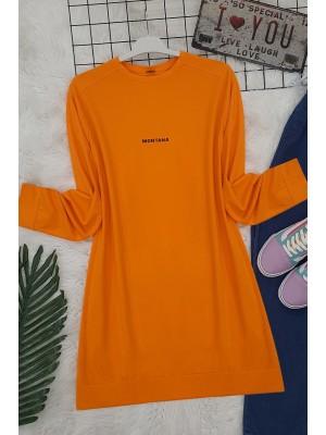 Slit Long Tunic -Orange