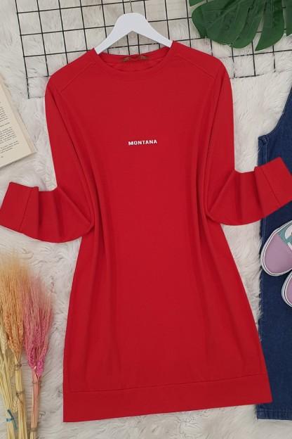 Yırtmaçlı Uzun Tunik -Kırmızı
