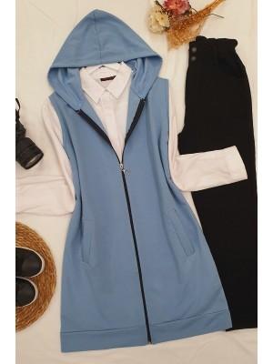 Hooded Zippered Combed Cotton Pocket Vest -Blue