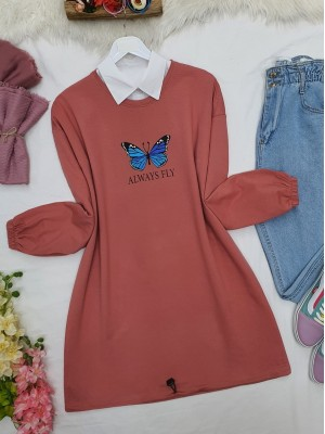 Elastic Skirt Sleeve Gathered Butterfly Sweat -Dried rose