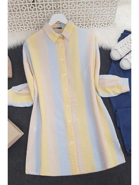 Striped Crepe Fabric Shirt -Blue