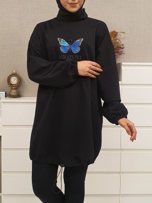 Elastic Skirt Sleeve Gathered Butterfly Sweat -Black