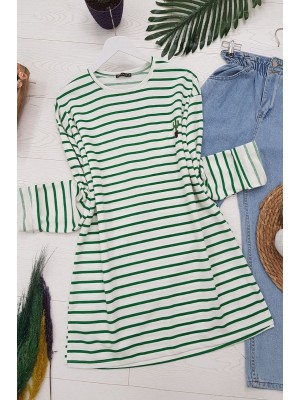 Crew Neck Striped Cactus Embroidered Tunic -Green