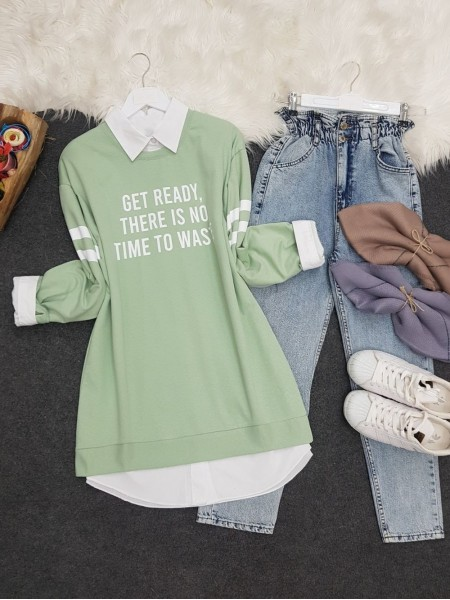 Crew Neck Get Ready Printed Combed Cotton Sweat  -Sea green