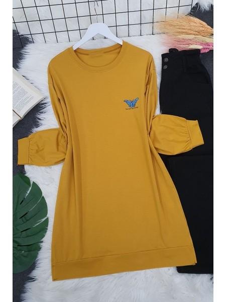 Butterfly Patterned Long Tunic -Mustard