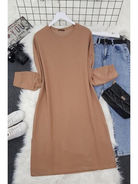 Slit Plain Combed Cotton Tunic  -Mink color