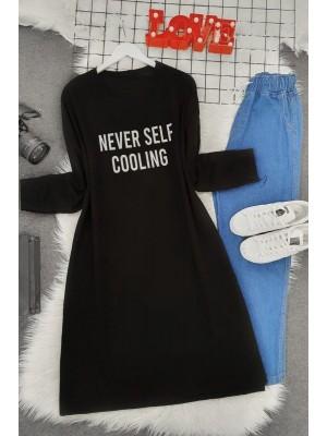 Crew Neck Letter Printed Slit Sweat -Black