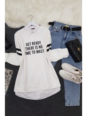 Crew Neck Get Ready Printed Combed Cotton Sweat -White