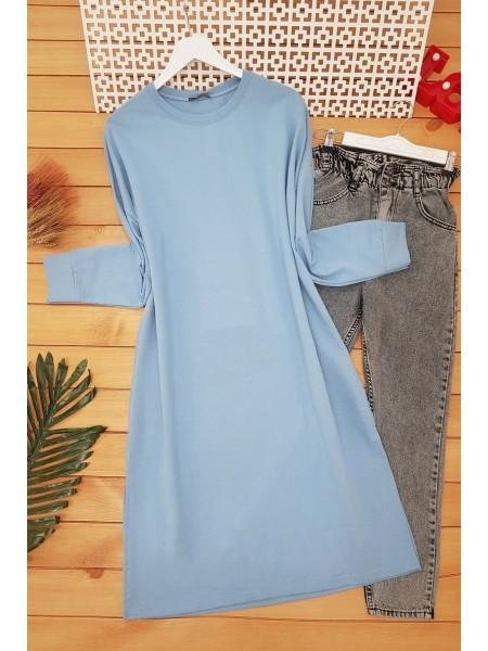 Slit Plain Combed Cotton Tunic -Blue