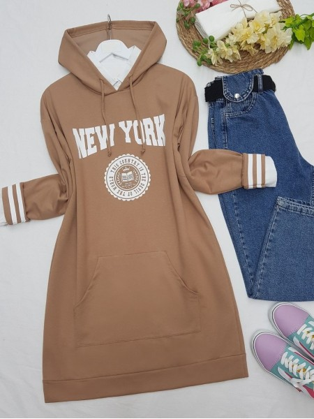 Hooded Pocketed New York Letter Combed Cotton Tunic  -Mink color