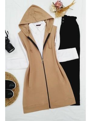 Hooded Zippered Combed Cotton Pocket Vest -Mink color