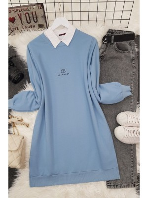 Crew Neck Slit Text Printed Combed Cotton Tunic -Blue