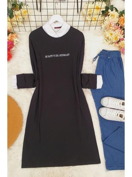 Long Sleeve Slit Tunic -Black