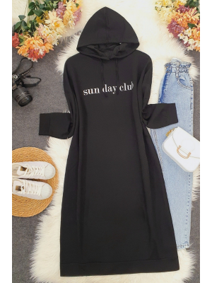 Letter Printed Long Sweat with Lace-up Hood -Black