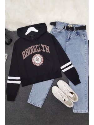 Hooded Brooklyn Letter Short Combed Sweat -Black