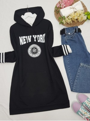 Hooded Pocketed New York Letter Combed Cotton Tunic  -Black