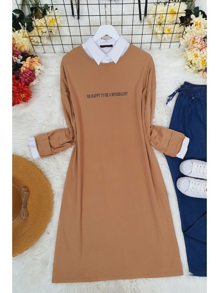 Long Sleeve Slit Tunic -Mink color
