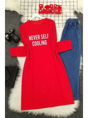 Crew Neck Letter Printed Slit Sweat -Red