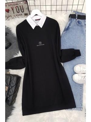 Crew Neck Slit Text Printed Combed Cotton Tunic  -Black