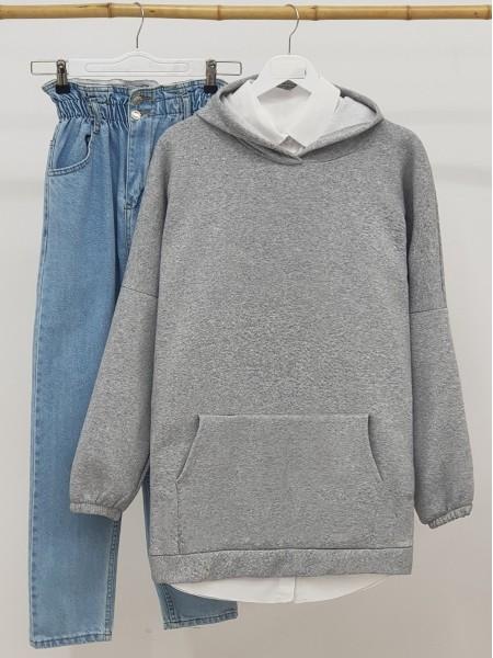 Hooded Kangaroo Pocket Sleeves Elastic Sweat  -Grey