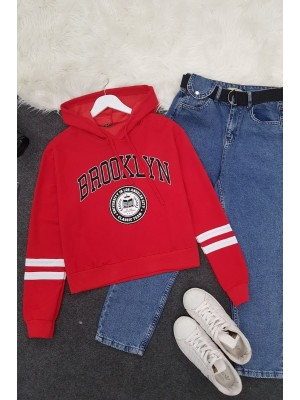 Hooded Brooklyn Letter Short Combed Sweat -Red