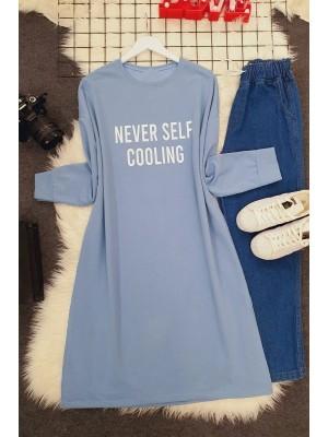 Crew Neck Letter Printed Slit Sweat -Blue