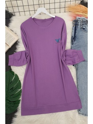 Butterfly Patterned Long Tunic -Lilac