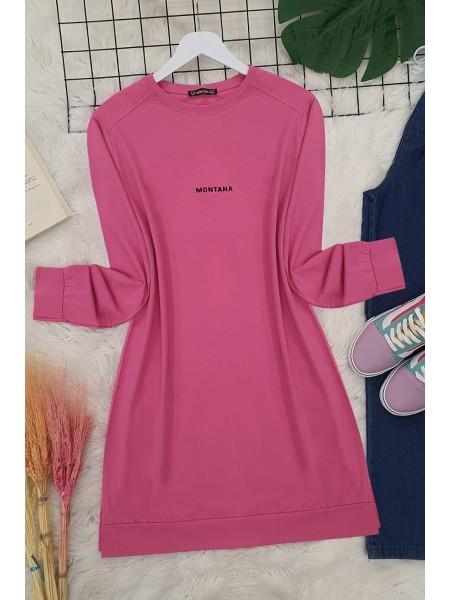 Slit Long Tunic -Pink