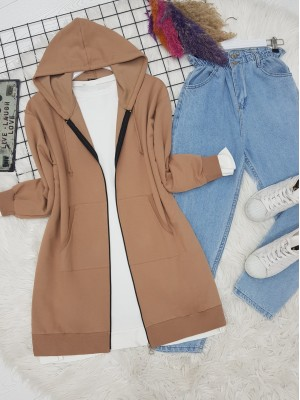 Hooded Lace-Up Skirt Elastic Combed Cotton Sweat -Mink color