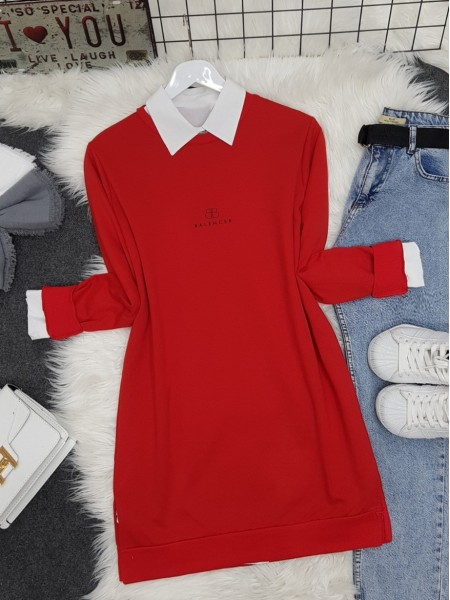 Crew Neck Slit Text Printed Combed Cotton Tunic  -Red