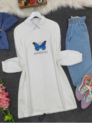 Elastic Skirt Sleeve Gathered Butterfly Sweat -White