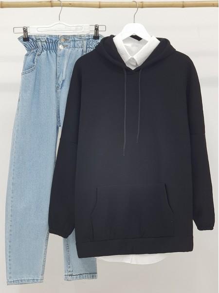 Hooded Kangaroo Pocket Sleeves Elastic Sweat -Black