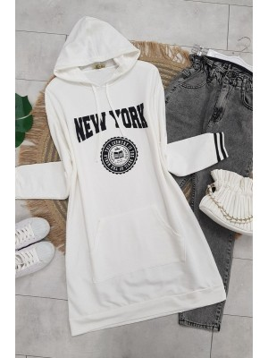 Hooded Pocketed New York Letter Combed Cotton Tunic -White