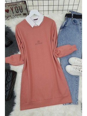 Crew Neck Slit Text Printed Combed Cotton Tunic -Dried rose