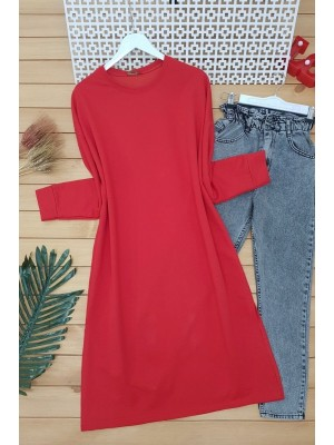 Slit Plain Combed Cotton Tunic -Red