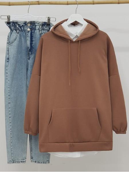 Hooded Kangaroo Pocket Sleeves Elastic Sweat -Brown