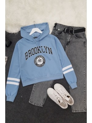 Hooded Brooklyn Letter Short Combed Sweat -Blue
