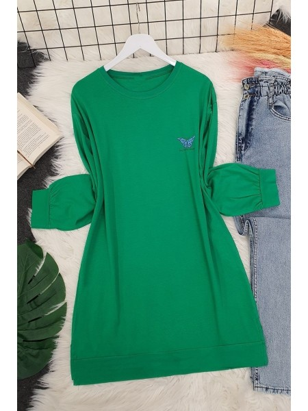 Butterfly Patterned Long Tunic -Green