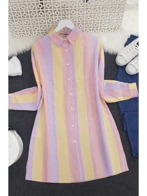 Striped Crepe Fabric Shirt -Yellow