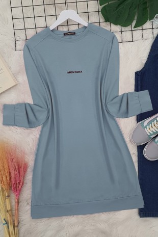 Yırtmaçlı Uzun Tunik -Mavi
