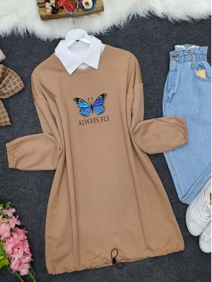 Elastic Skirt Sleeve Gathered Butterfly Sweat -Mink color
