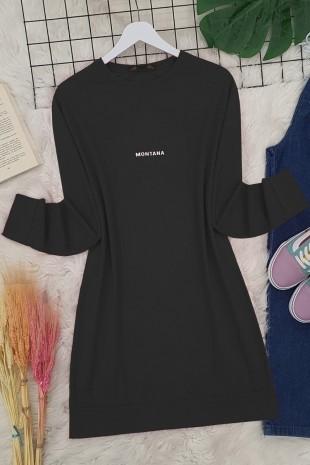 Yırtmaçlı Uzun Tunik -Siyah