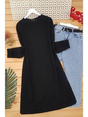 Yırtmaçlı Düz Penye Tunik -Siyah