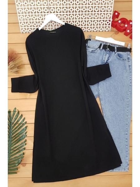 Slit Plain Combed Cotton Tunic -Black