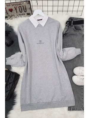 Crew Neck Slit Text Printed Combed Cotton Tunic -Grey